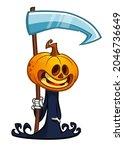 grim reaper pumpkin head... | Shutterstock .eps vector #2046736649