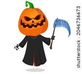 grim reaper pumpkin head... | Shutterstock .eps vector #2046736673