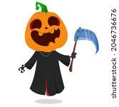 grim reaper pumpkin head... | Shutterstock .eps vector #2046736676
