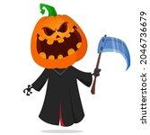 grim reaper pumpkin head... | Shutterstock .eps vector #2046736679