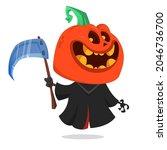 grim reaper pumpkin head... | Shutterstock .eps vector #2046736700
