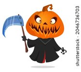 grim reaper pumpkin head... | Shutterstock .eps vector #2046736703