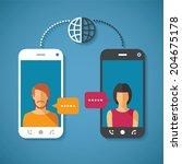 vector concept of world global... | Shutterstock .eps vector #204675178
