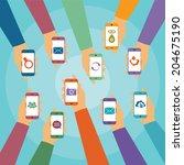 vector concept of modern mobile ... | Shutterstock .eps vector #204675190