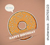 card with cool cartoon donut.... | Shutterstock .eps vector #204703123