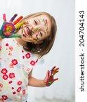 portrait of a cute cheerful... | Shutterstock . vector #204704143