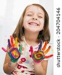 portrait of a cute cheerful... | Shutterstock . vector #204704146