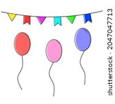colorful birthday flags and... | Shutterstock .eps vector #2047047713