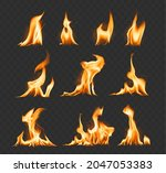 fire flame realistic set of ... | Shutterstock .eps vector #2047053383