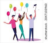 birthday party set vector... | Shutterstock .eps vector #2047103960