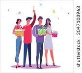 birthday party set vector... | Shutterstock .eps vector #2047103963