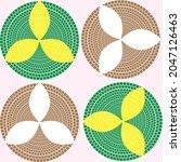 4 circular leaf design pattern...   Shutterstock .eps vector #2047126463