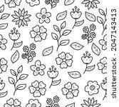 seamless flower doodle pattern...   Shutterstock .eps vector #2047143413