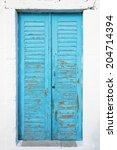 old blue textured door with... | Shutterstock . vector #204714394