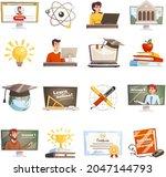 online learning icons set.... | Shutterstock .eps vector #2047144793