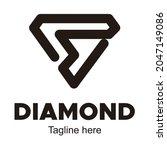 diamond bold outline logo... | Shutterstock .eps vector #2047149086