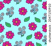 cute seamless flower pattern...   Shutterstock .eps vector #2047150910