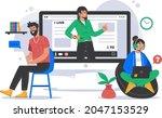 online tutorials concept.... | Shutterstock .eps vector #2047153529