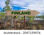 Finland Wooden Arrow Road Sign...