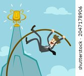 businessman pole vaulting to... | Shutterstock .eps vector #2047178906