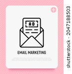 email marketing thin line icon. ... | Shutterstock .eps vector #2047188503