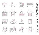 real estate  icons set. real... | Shutterstock .eps vector #2047203146