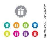 vector   gift box icon. round...   Shutterstock .eps vector #204736699