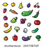 vegetables and fruits set color ... | Shutterstock .eps vector #204738769