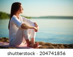 side view of serene woman... | Shutterstock . vector #204741856