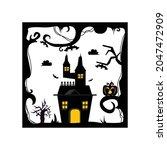 black halloween house design...   Shutterstock .eps vector #2047472909