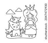 line art princess and unicorn...   Shutterstock .eps vector #2047472930
