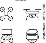 drone icons set isolated on...