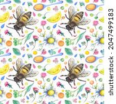 Seamless Pattern With A Bee  A...