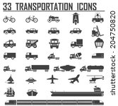 33 transportation icons sets | Shutterstock .eps vector #204750820