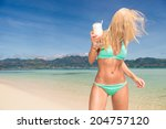 stunning woman drinking... | Shutterstock . vector #204757120
