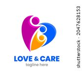 love and care logo template.... | Shutterstock .eps vector #2047628153