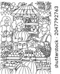 coloring page. farmers market....   Shutterstock .eps vector #2047792763