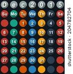 calendardecember 2015 with flat ... | Shutterstock .eps vector #204782704
