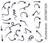 hand drawn black arrows... | Shutterstock .eps vector #2047887320