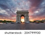 arc de triomphe and traffic... | Shutterstock . vector #204799930