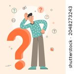 big question mark  man thinking ... | Shutterstock .eps vector #2048273243