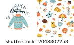 autumn seamless pattern   and... | Shutterstock .eps vector #2048302253
