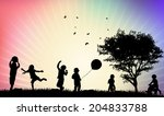 children silhouettes | Shutterstock .eps vector #204833788