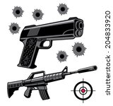 two black firearms with bullet... | Shutterstock .eps vector #204833920