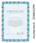 vertical template certificate... | Shutterstock .eps vector #204841090