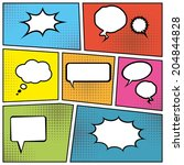 blank comic speech bubbles in... | Shutterstock .eps vector #204844828