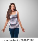 portrait of young woman  doing... | Shutterstock . vector #204849280
