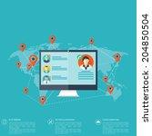 notebook  computer icon. social ... | Shutterstock .eps vector #204850504
