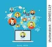 flat social media and network...   Shutterstock .eps vector #204851119