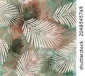 watercolor tropical vector...   Shutterstock .eps vector #2048545769